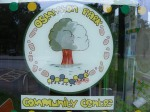 hand drawn community centre sign at Osmaston Park cafe.