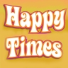 'Happy time's in white flowing letters on orange background.