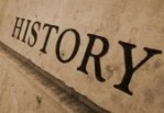 Image of the word 'history' on a wall.