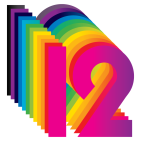 Image of the number 12 in bright colours.
