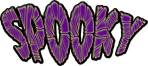 Image of the word 'spooky' in purple letters..