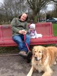 Image of intervieewes daughter on bench at Markeaton Park.