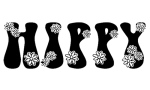 Image of the word 'hippy' with drawn flowers.