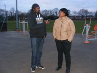 Image of Karnage interviewing Anette at Normanton Park.